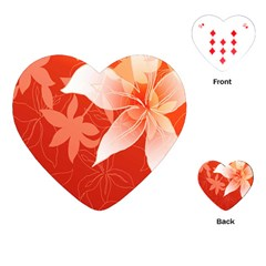 Lily Flowers Graphic White Orange Playing Cards (heart)  by Alisyart