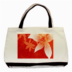 Lily Flowers Graphic White Orange Basic Tote Bag by Alisyart