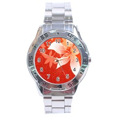 Lily Flowers Graphic White Orange Stainless Steel Analogue Watch by Alisyart