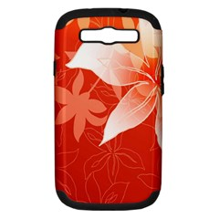 Lily Flowers Graphic White Orange Samsung Galaxy S Iii Hardshell Case (pc+silicone) by Alisyart