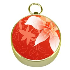 Lily Flowers Graphic White Orange Gold Compasses by Alisyart
