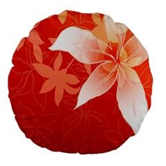 Lily Flowers Graphic White Orange Large 18  Premium Flano Round Cushions by Alisyart