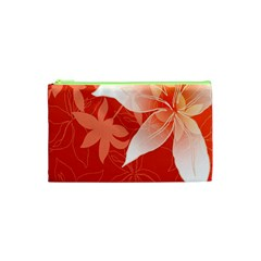 Lily Flowers Graphic White Orange Cosmetic Bag (xs) by Alisyart