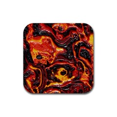 Lava Active Volcano Nature Rubber Coaster (square)  by Alisyart
