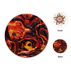 Lava Active Volcano Nature Playing Cards (round)  by Alisyart