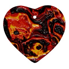 Lava Active Volcano Nature Heart Ornament (two Sides) by Alisyart