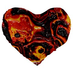 Lava Active Volcano Nature Large 19  Premium Flano Heart Shape Cushions by Alisyart