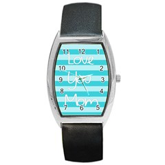 Love You Mom Stripes Line Blue Barrel Style Metal Watch by Alisyart