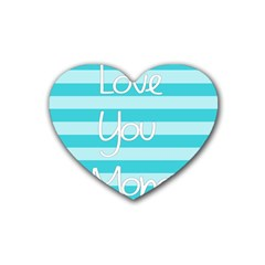 Love You Mom Stripes Line Blue Heart Coaster (4 Pack)  by Alisyart