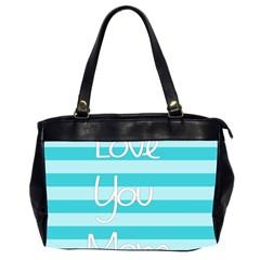 Love You Mom Stripes Line Blue Office Handbags (2 Sides)  by Alisyart