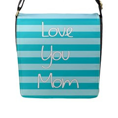 Love You Mom Stripes Line Blue Flap Messenger Bag (l)  by Alisyart
