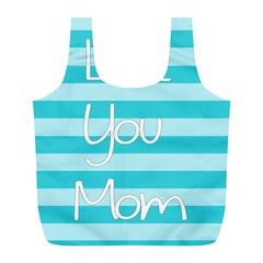 Love You Mom Stripes Line Blue Full Print Recycle Bags (l)  by Alisyart