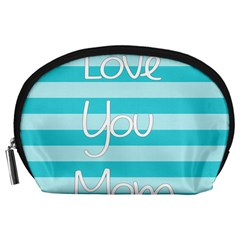Love You Mom Stripes Line Blue Accessory Pouches (large)  by Alisyart