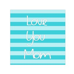 Love You Mom Stripes Line Blue Small Satin Scarf (square) by Alisyart