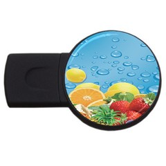 Fruit Water Bubble Lime Blue Usb Flash Drive Round (4 Gb) by Alisyart