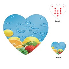 Fruit Water Bubble Lime Blue Playing Cards (heart)  by Alisyart