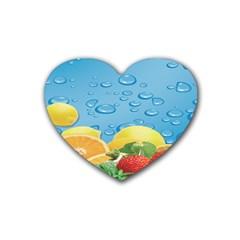 Fruit Water Bubble Lime Blue Rubber Coaster (heart)  by Alisyart
