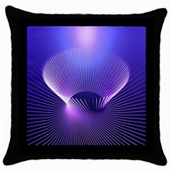 Lines Lights Space Blue Purple Throw Pillow Case (black) by Alisyart