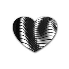Metallic Waves Heart Coaster (4 Pack)  by Alisyart
