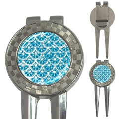 Lime Blue Star Circle 3 In 1 Golf Divots by Alisyart