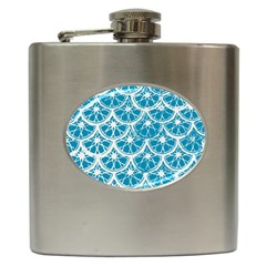 Lime Blue Star Circle Hip Flask (6 Oz) by Alisyart