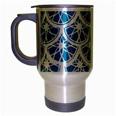 Lime Blue Star Circle Travel Mug (silver Gray) by Alisyart