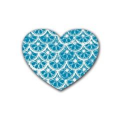 Lime Blue Star Circle Rubber Coaster (heart)  by Alisyart