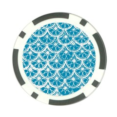 Lime Blue Star Circle Poker Chip Card Guard by Alisyart