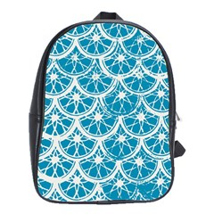 Lime Blue Star Circle School Bags(large)  by Alisyart