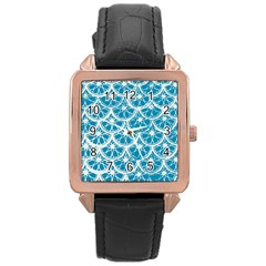 Lime Blue Star Circle Rose Gold Leather Watch  by Alisyart