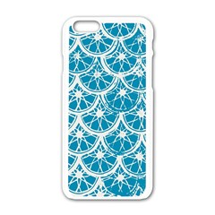Lime Blue Star Circle Apple Iphone 6/6s White Enamel Case by Alisyart
