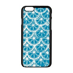 Lime Blue Star Circle Apple Iphone 6/6s Black Enamel Case by Alisyart