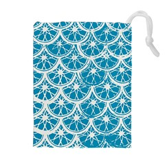 Lime Blue Star Circle Drawstring Pouches (extra Large) by Alisyart