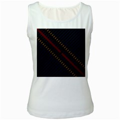 Material Design Stripes Line Red Blue Yellow Black Women s White Tank Top by Alisyart