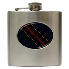 Material Design Stripes Line Red Blue Yellow Black Hip Flask (6 Oz) by Alisyart