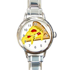 Pasta Salad Pizza Cheese Round Italian Charm Watch by Alisyart