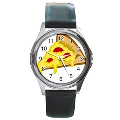 Pasta Salad Pizza Cheese Round Metal Watch by Alisyart