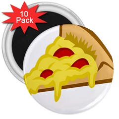Pasta Salad Pizza Cheese 3  Magnets (10 Pack)  by Alisyart