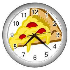 Pasta Salad Pizza Cheese Wall Clocks (silver)  by Alisyart