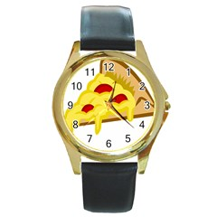 Pasta Salad Pizza Cheese Round Gold Metal Watch by Alisyart