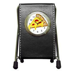 Pasta Salad Pizza Cheese Pen Holder Desk Clocks by Alisyart