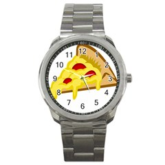 Pasta Salad Pizza Cheese Sport Metal Watch by Alisyart