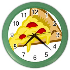 Pasta Salad Pizza Cheese Color Wall Clocks by Alisyart