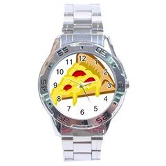 Pasta Salad Pizza Cheese Stainless Steel Analogue Watch by Alisyart