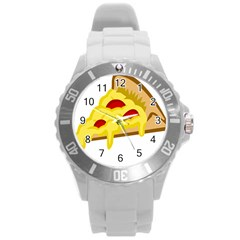 Pasta Salad Pizza Cheese Round Plastic Sport Watch (l) by Alisyart