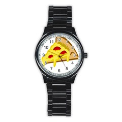 Pasta Salad Pizza Cheese Stainless Steel Round Watch by Alisyart