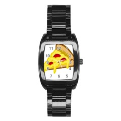 Pasta Salad Pizza Cheese Stainless Steel Barrel Watch by Alisyart
