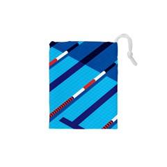 Minimal Swim Blue Illustration Pool Drawstring Pouches (xs)  by Alisyart