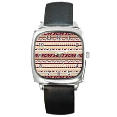 Pattern Tribal Triangle Square Metal Watch by Alisyart