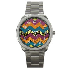 Painted Chevron Pattern Wave Rainbow Color Sport Metal Watch by Alisyart
